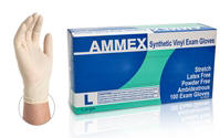 Ammex Stretch Synthetic Vinyl Exam Gloves - Stretchable disposable vinyl gloves for Food service, child care, print shops, manufacturing, bakeries, nursing homes, dental and medical.